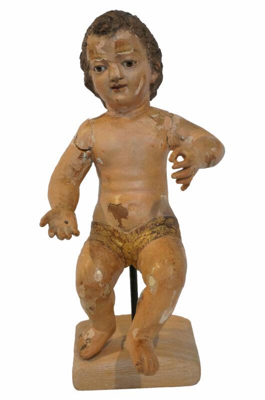 Antiek, Religieuze kunst, Gepolychromeerd houten sculptuur Christuskind met glazen ogen