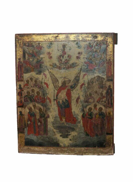 Antiek, Iconen, Icoon met voorstelling Synaxis Michael, Vetka, begin 19e eeuw